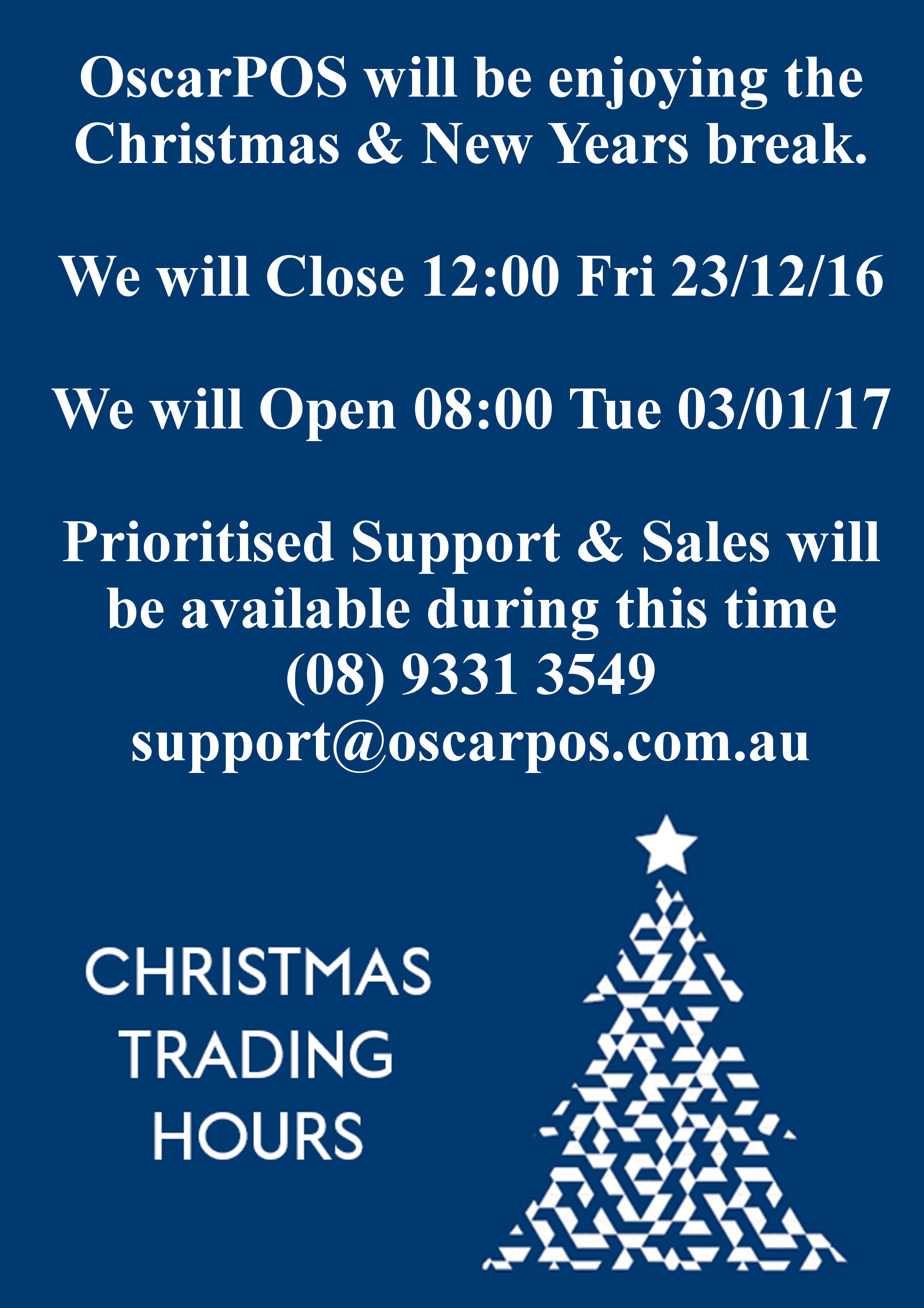 Christmas Trading Hours 2016